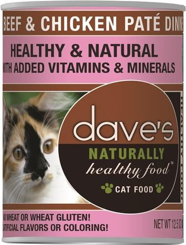 Daves Naturally Healthy Cat Food, Beef & Chicken Case of 12.