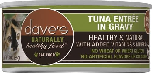 Daves Naturally Healthy Cat Food, Tuna Entree In Gravy Case of 24.