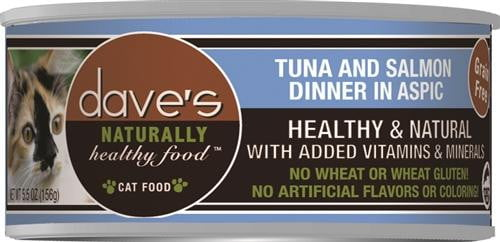 Daves Naturally Healthy Cat Food, Tuna and Salmon Dinner in Aspic Case of 24.