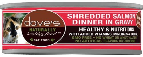 Daves Naturally Healthy Shredded Salmon in Gravy Case of 24.