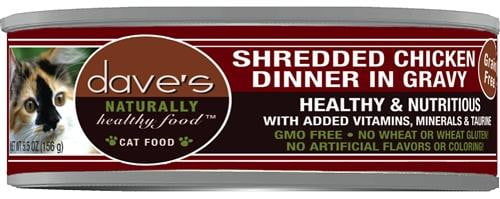 Daves Naturally Healthy Shredded Chicken in Gravy Case of 24.
