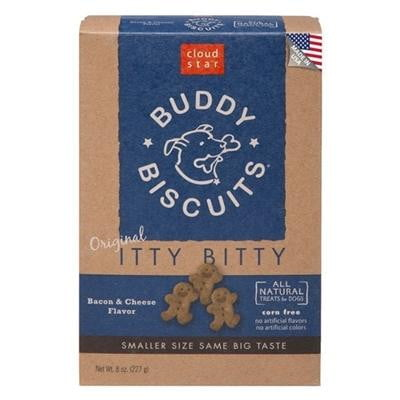 Cloud Star Original Itty Bitty Buddy Biscuits with Bacon & Cheese Dog Treats, 8-oz. box.