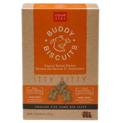 Cloud Star Original Itty Bitty Buddy Biscuits with Peanut Butter Dog Treats, 8-oz. box.