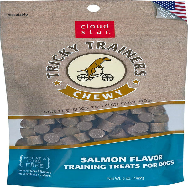 Cloud Star Chewy Tricky Trainers Salmon Flavor Dog Treats, 5-oz. bag.