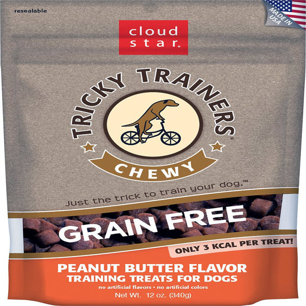 CLOUDSTAR DOG TRICKY TRAINER GRAIN FREE CHEWY PEANUT BUTTER 12OZ.