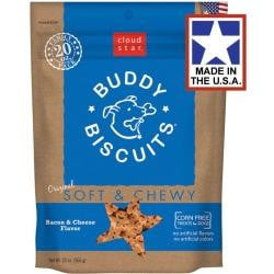 Cloud Star Original Soft & Chewy Buddy Biscuits with Bacon & Cheese Dog Treats, 20-oz. bag.