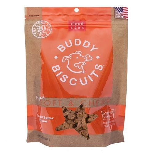 Cloud Star Original Soft & Chewy Buddy Biscuits with Peanut Butter Dog Treats, 20-oz. bag.