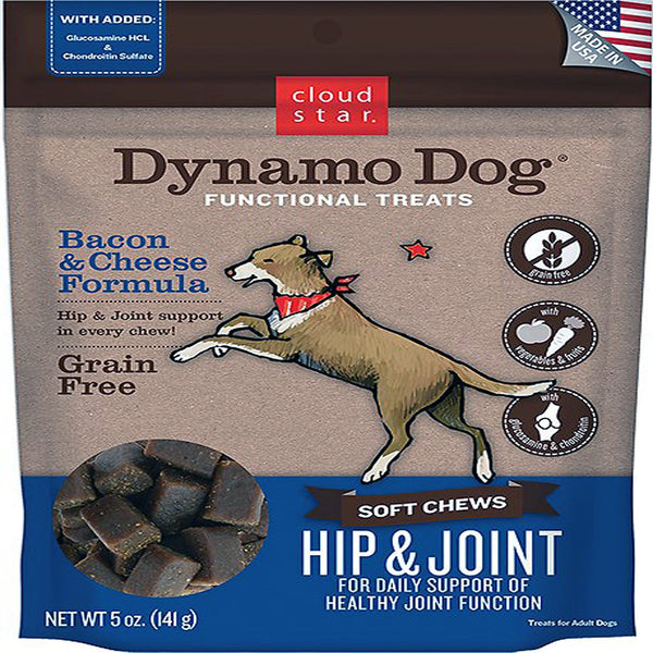 Cloud Star Dynamo Dog Hip & Joint Soft Chews Bacon & Cheese Formula Dog Treats, 14-oz. bag.