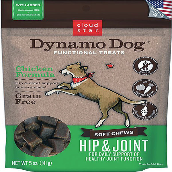 Cloud Star Dynamo Dog Hip & Joint Soft Chews Chicken Formula Dog Treats, 14-oz. bag.