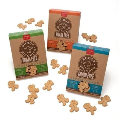 Cloud Star Grain-Free Oven Baked Buddy Biscuits with Homestyle Peanut Butter Dog Treats, 14-oz. box.