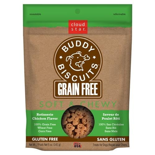 Cloud Star Grain-Free Soft & Chewy Buddy Biscuits with Rotisserie Chicken Dog Treats, 5-oz. bag.