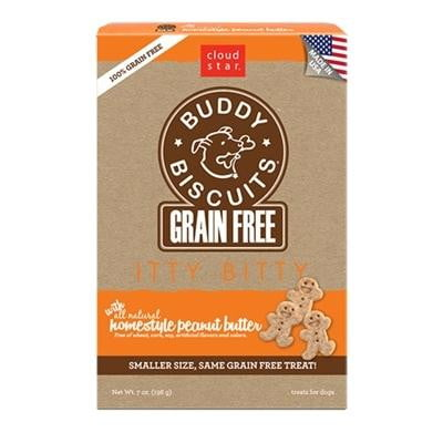 Cloud Star Grain-Free Itty Bitty Buddy Biscuits with Homestyle Peanut Butter Dog Treats, 7-oz. box.