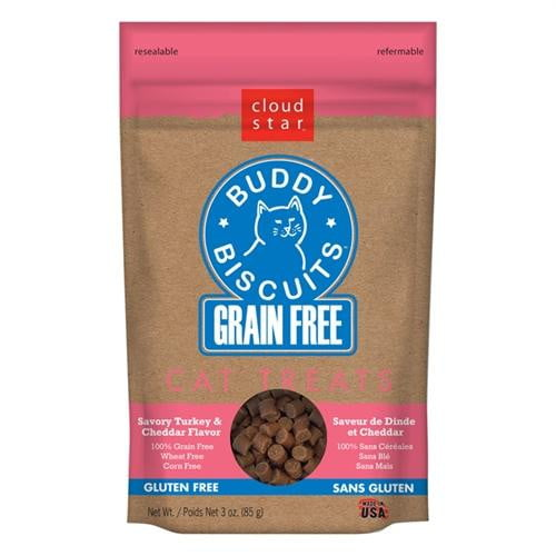 Cloud Star Grain-Free Buddy Biscuits with Savory Turkey & Cheddar Cat Treats, 3-oz. bag.
