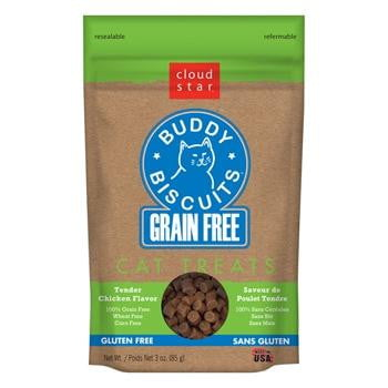 Cloud Star Grain-Free Buddy Biscuits with Tender Chicken Cat Treats, 3-oz. bag.