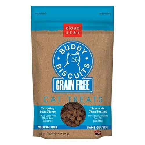 Cloud Star Grain-Free Buddy Biscuits with Tempting Tuna Cat Treats, 3-oz. bag.