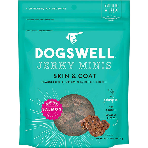 DOGSWELL DOG SKIN & COAT JERKY MINI GRAIN FREE SALMON 4OZ.