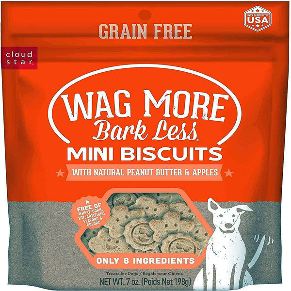 CLOUD STAR WAGMORE DOG GRAIN FREE MINI BAKED PEANUT BUTTER & APPLE 7OZ