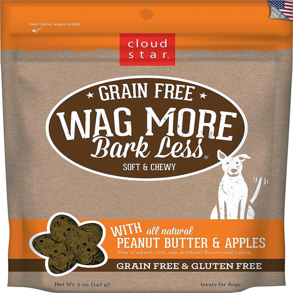 CLOUDSTAR WAGMORE DOG GRAIN FREE SOFT & CHEWY PEANUT BUTTER & APPLE 5OZ.
