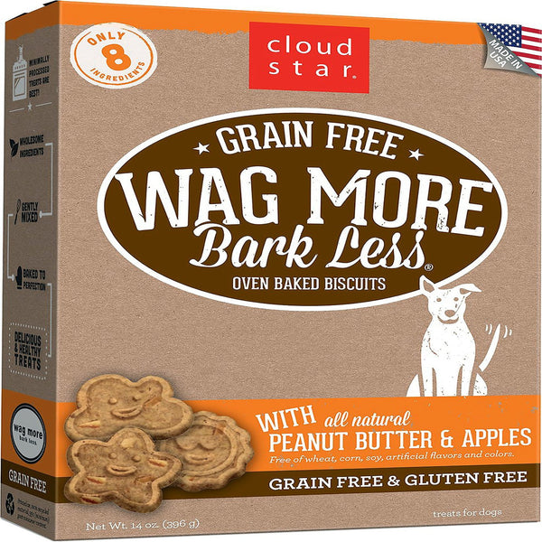 CLOUDSTAR WAGMORE DOG GRAIN FREE BAKED PEANUT BUTTER & APPLE 14OZ.