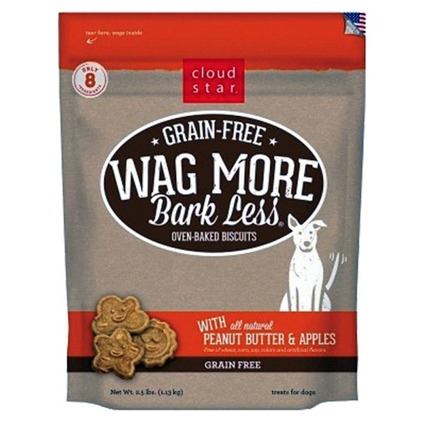 CLOUDSTAR WAG MORE DOG GRAIN FREE PEANUT BUTTER & APPLES 2.5LB.