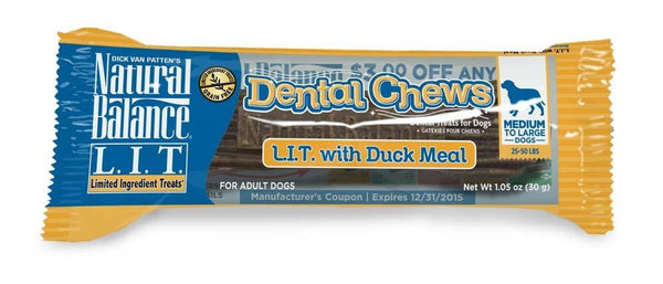 Natural Balance LIT with Duck Meal Dental Chew 13oz-12ct.