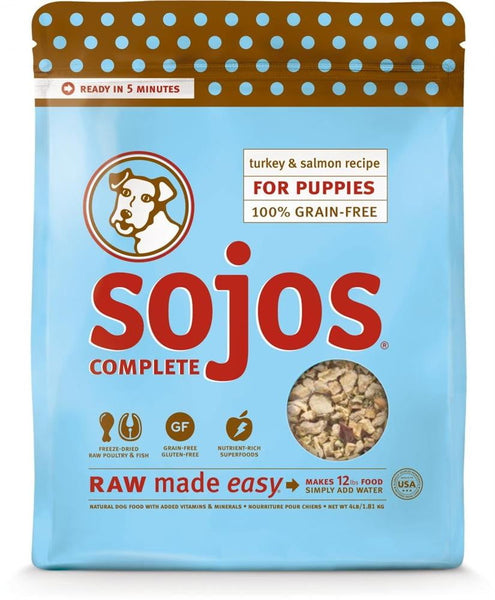 SOJOS DOG FREEZE-DRIED COMPLETE PUPPY TURKEY SALMON 1LB.