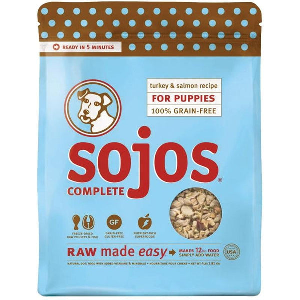 SOJOS DOG FREEZE-DRIED COMPLETE PUPPY TURKEY SALMON 4LB.