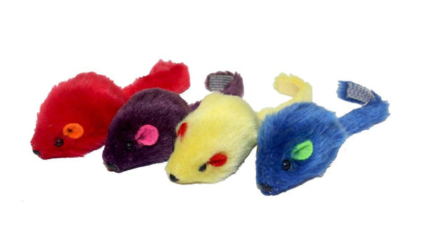 Multipet Multi-colored Mice Cat Toys 4pk.