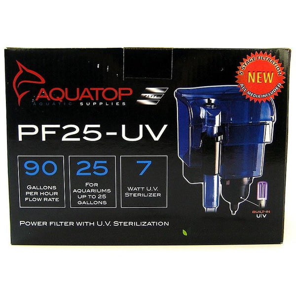 AQUATOP Power Filter With UV Sterilization 90gph 25gal.