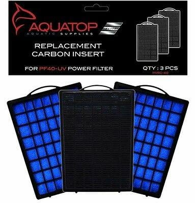 AQUATOP Aquarium Carbon Cartridge for PF40-UV Hang On UV Filter 3pc.