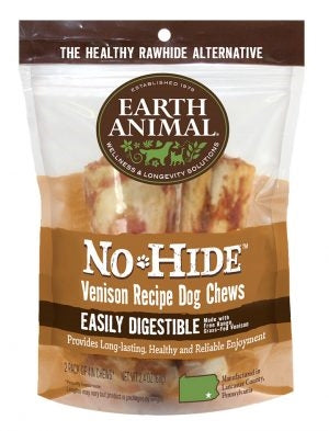 "Earth Animal No Hide Venison Chews Dog Treats, 4"", 2 Pack."