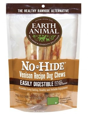 "Earth Animal No Hide Venison Chews Dog Treats, 7"", 2 Pack."