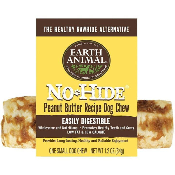 "Earth Animala No Hide Chews Peanut Butter 4"" 24 Count Refill."
