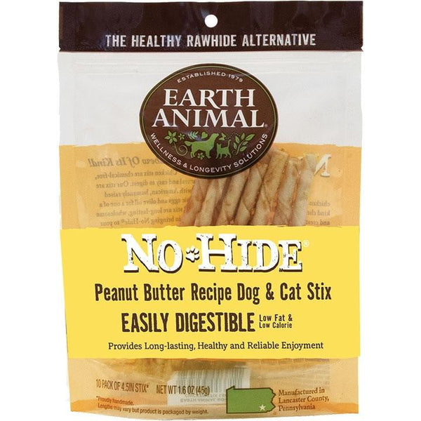 Earth Animal NO Hide Chews Peanut Butter Stix 10Pack.