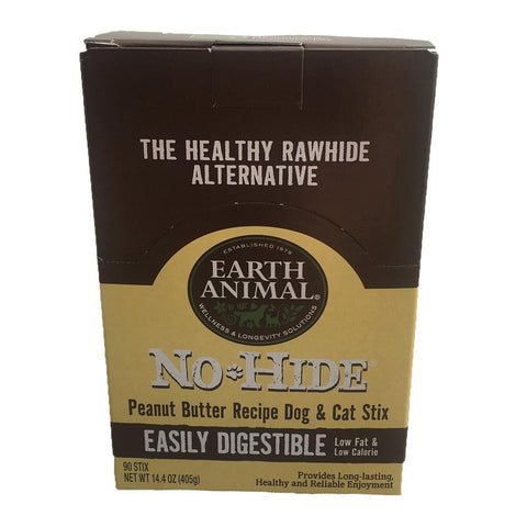 Earth Animal No Hide Chews Peanut Butter Stix 90 Count.