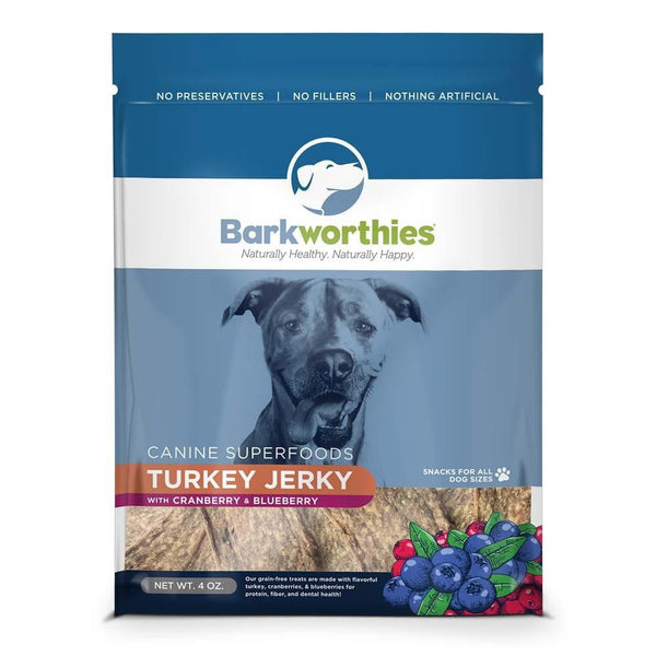 Barkworthies Turkey w- Cranberry & Blueberry Superfood Jerky (4 oz. ).