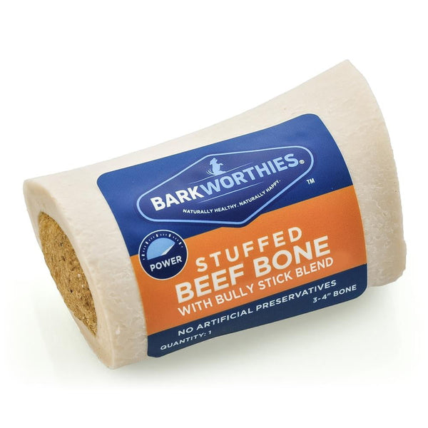 "Barkworthies 3-4"" Shin Bone Stuffed with Bully Stick Blend."