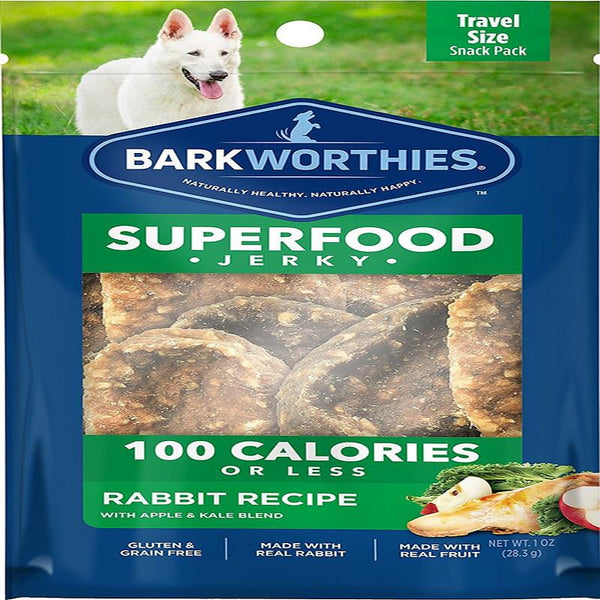 Barkworthies Rabbit Jerky Recipe with Apple & Kale Blend 100 Calorie Pack   Sold As Whole Case Of: 16.