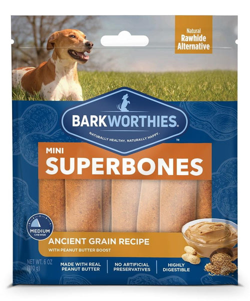 Barkworthies Mini SuperBone Ancient Grain Peanut Butter (12-Pack ).
