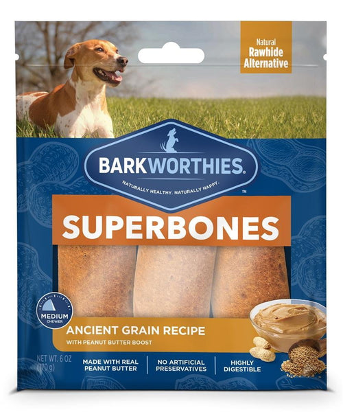 Barkworthies SuperBone Ancient Grain Peanut Butter (3 Count).