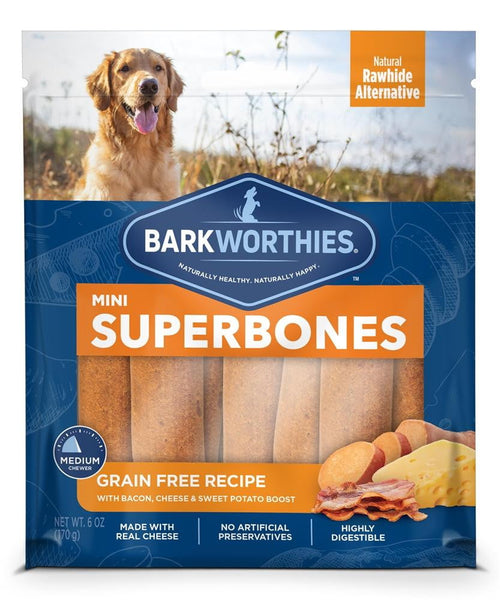 Barkworthies Mini SuperBone Grain Free Bacon Cheese Sweet Potato (12-Pack ).