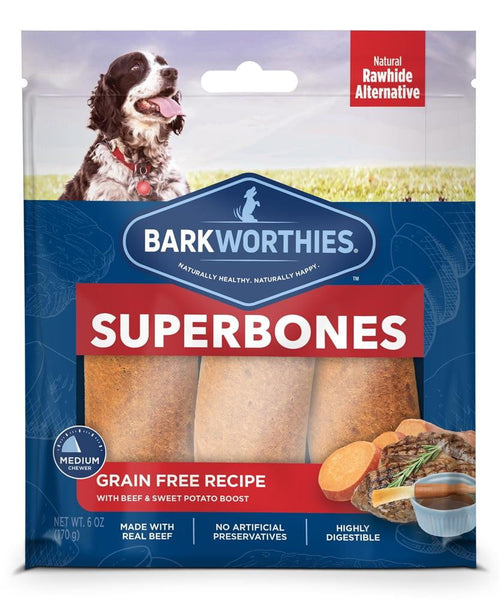 Barkworthies SuperBone Grain Free Bacon Cheese Sweet Potato (3 Count).