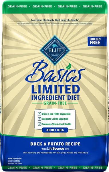 Blue Buffalo Dog Basic  Grain-Free  Duck  22 Lbs..