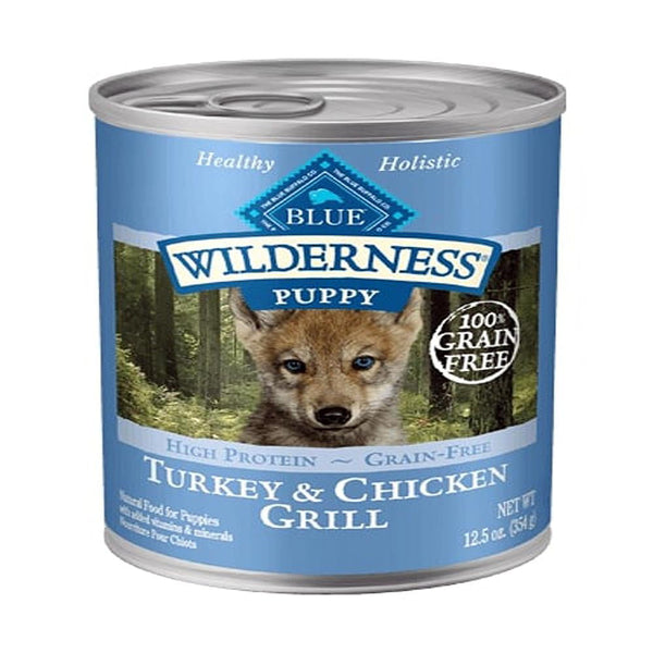 Blue Buffalo Dog Wilderness   Puppy  Grain-Free  Turkey Chicken  12.5 Case of 12.