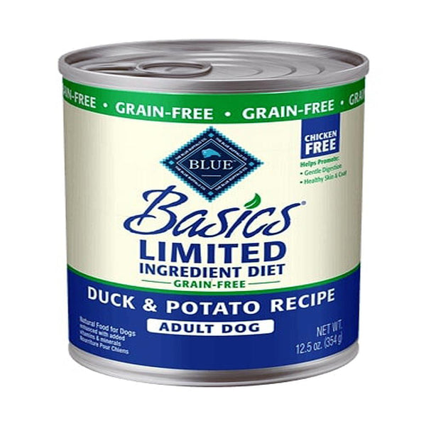 Blue Buffalo Dog Basic  Grain-Free Adult Duck  12.5  oz..    Case of 12.