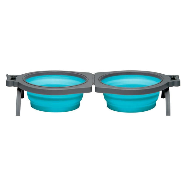 Loving Pets Bella Roma Travel Double Diner Dog Bowl Blue Small.