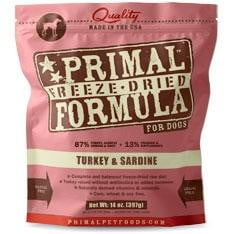 Primal Pet Foods Freeze Dried Dog  Food 5.5 oz.- Turkey Sardine.