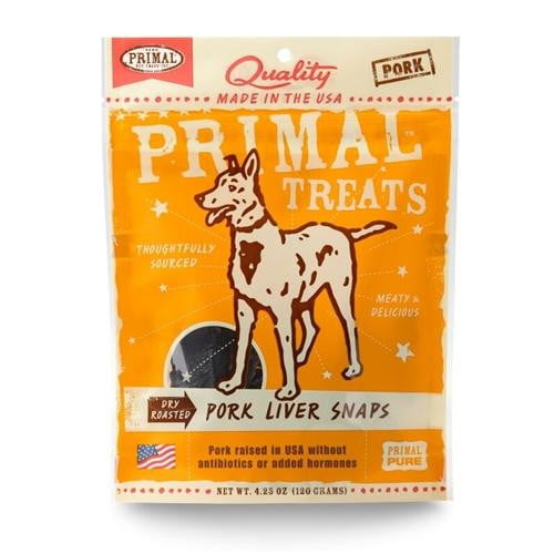 Primal Pork Liver Snaps Dry Roasted Dog Treats, 4.25-oz. bag.