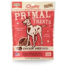 Primal Chicken Shredders Dry Roasted Dog Treats, 4-oz. bag.