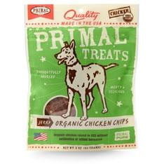 Primal Jerky Organic Chicken Chips Dog Treats, 3-oz. bag.